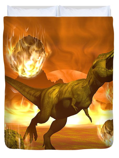 Tyrannosaurus Rex Struggles To Escape Duvet Cover by Elena Duvernay