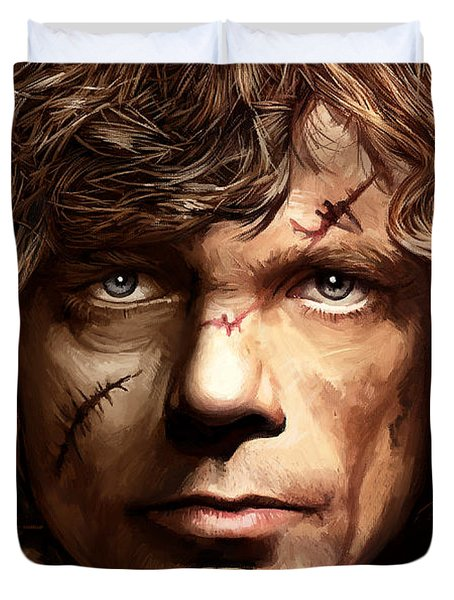 Duvet Cover featuring the painting Tyrion Lannister - Peter Dinklage Game Of Thrones Artwork 2 by Sheraz A