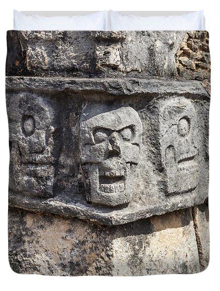 Tzompantli Or Platform Of The Skulls At Chichen Itza Duvet Cover