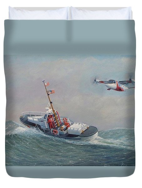 U. S. Coast Guard 44ft Motor Lifeboat And Tilt-motor Aircraft  Duvet Cover by William H RaVell III
