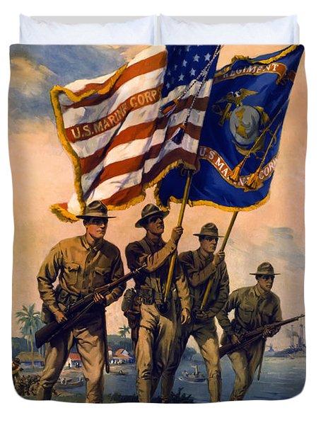 U. S. Marines Spirit Of 1917 Duvet Cover by Daniel Hagerman