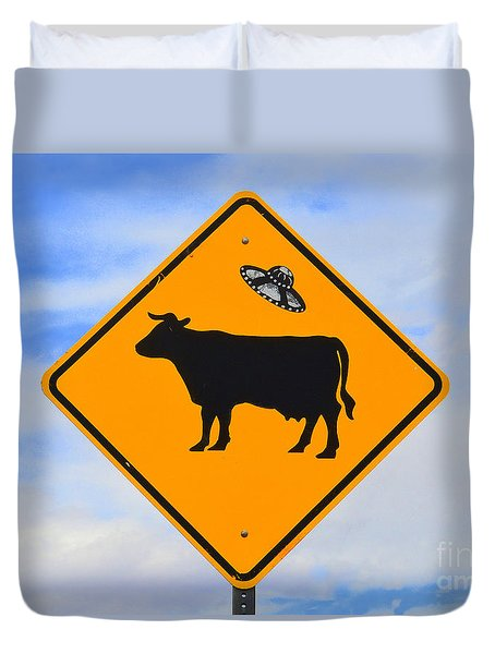Ufo Cattle Crossing Sign In New Mexico Duvet Cover by Catherine Sherman