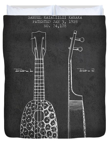Ukulele Patent Drawing From 1928 - Dark Duvet Cover