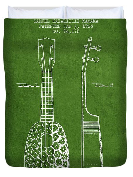 Ukulele Patent Drawing From 1928 - Green Duvet Cover