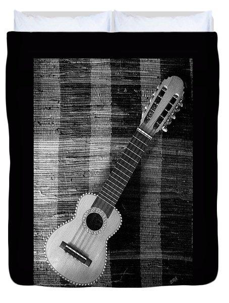 Ukulele Still Life In Black And White Duvet Cover