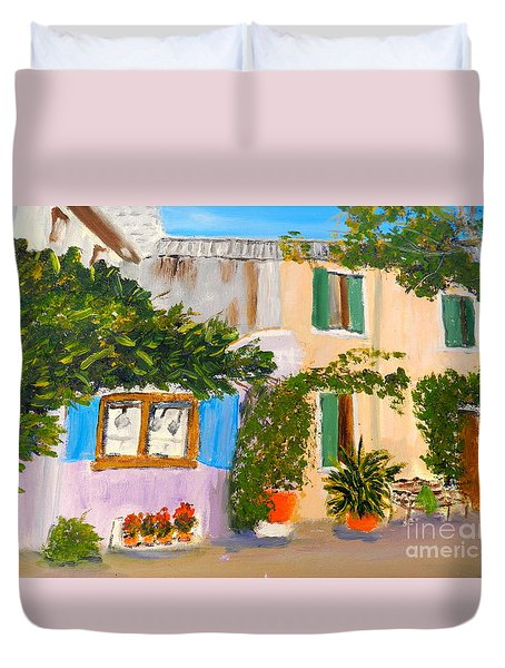 Duvet Cover featuring the painting Umbera Courtyard by Pamela  Meredith