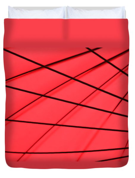 Red And Black Abstract Duvet Cover by Tony Grider