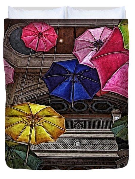 Umbrella Fun Duvet Cover by Joan  Minchak