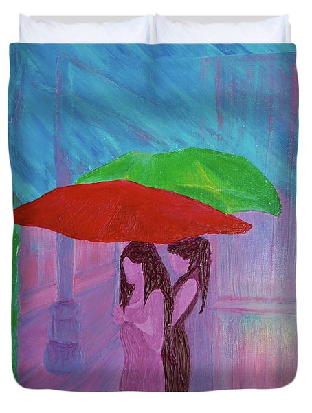 Duvet Cover featuring the painting Umbrella Girls by First Star Art