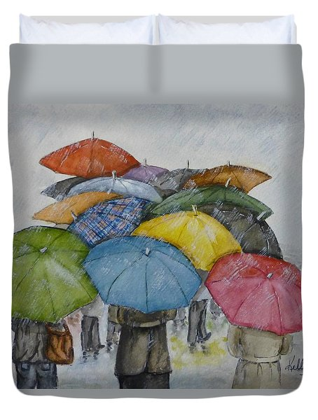 Umbrella Huddle Duvet Cover by Kelly Mills