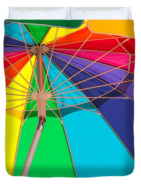 Duvet Cover featuring the photograph Umbrella Of Many Colors by Art Block Collections