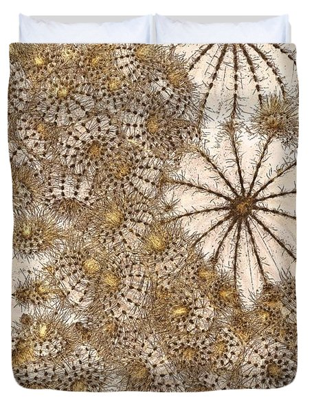Duvet Cover featuring the photograph Umbrellas And Urchins by Liz  Alderdice