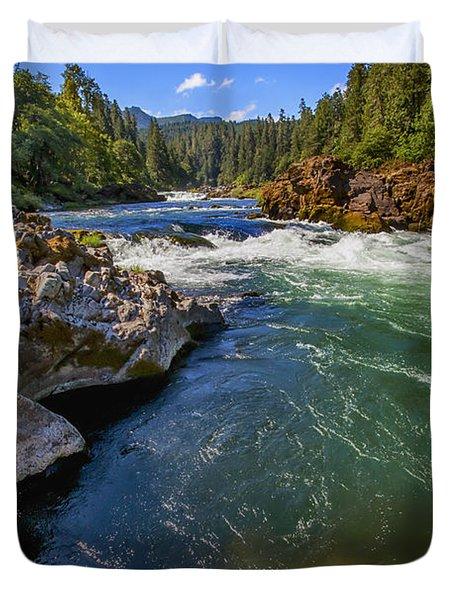 Duvet Cover featuring the photograph Umpqua River by David Millenheft