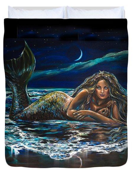 Under A Crescent Moon Mermaid Pillow Duvet Cover