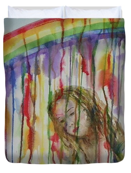 Duvet Cover featuring the painting Under A Crying Rainbow by Anna Ruzsan