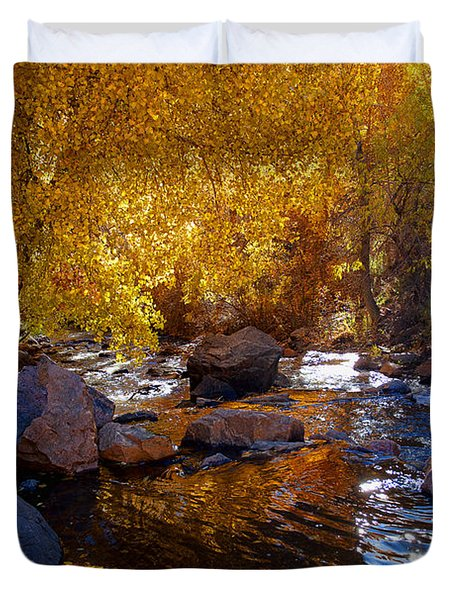 Under A Gold Canopy Duvet Cover by Jim Garrison