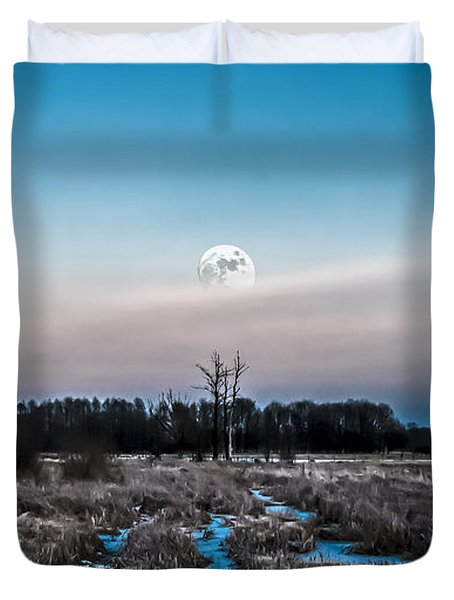 Under Cold Moonlight In Blue Duvet Cover