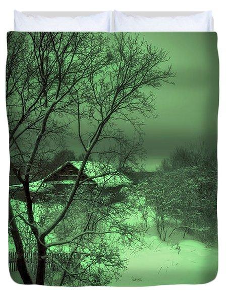 Under Green Moon Duvet Cover by Jenny Rainbow