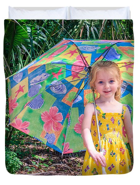 Duvet Cover featuring the photograph Under My Umbrella by Rob Sellers
