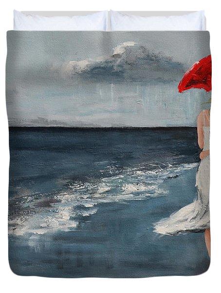Under Our Umbrella - Modern Impressionistic Art - Romantic Scene Duvet Cover
