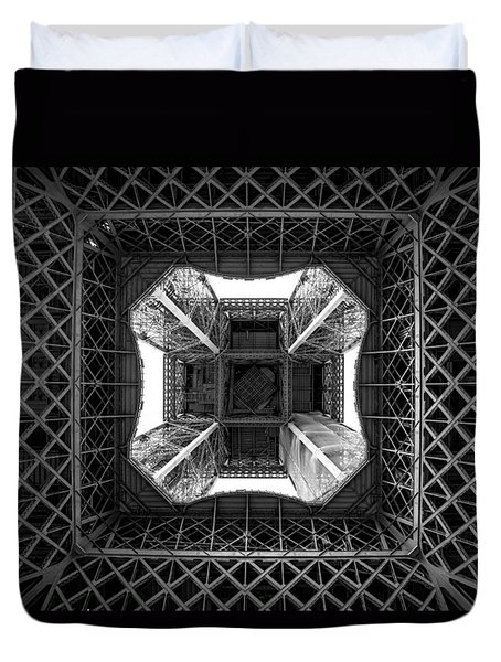 Duvet Cover featuring the photograph Under The Eiffel by Aaron Aldrich