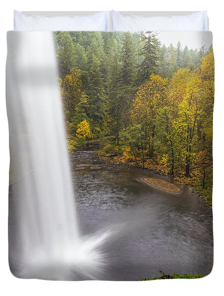 Under The Falls With Autumn Colors In Oregon Duvet Cover by David Gn
