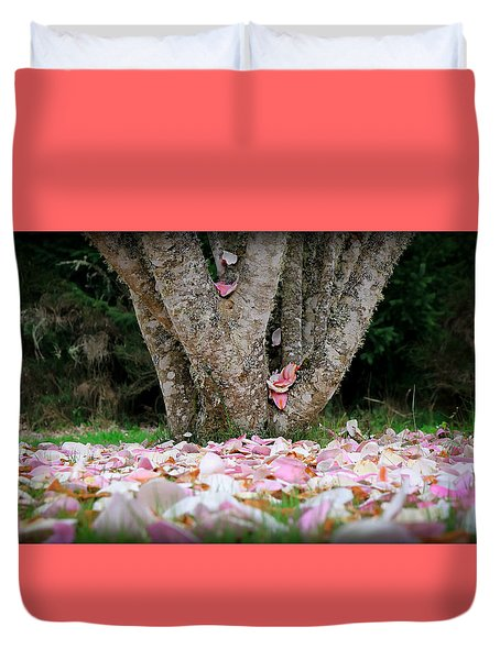 Duvet Cover featuring the photograph Under The Magnolia Tree by Katie Wing Vigil