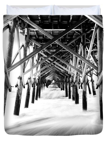 Under The Pier Folly Beach Duvet Cover