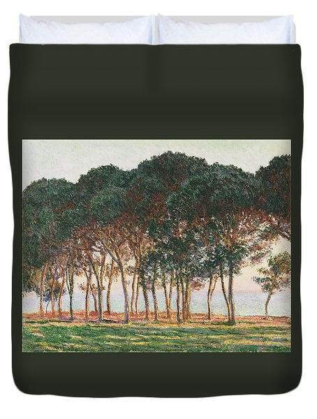 Under The Pines. Evening Duvet Cover by Claude Monet