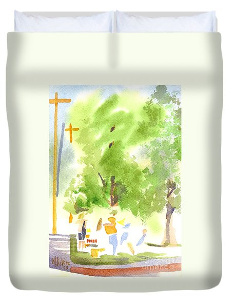 Under The Shade Trees Farmers Market Iv Duvet Cover by Kip DeVore