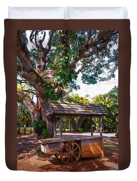 Under The Shadow Of The Tree. Eureka. Mauritius Duvet Cover by Jenny Rainbow