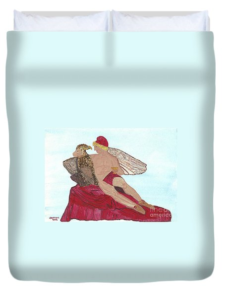 Duvet Cover featuring the painting Under The Wings Of Love by Tracey Williams
