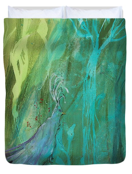Duvet Cover featuring the painting Undercover Peacock by Robin Maria Pedrero