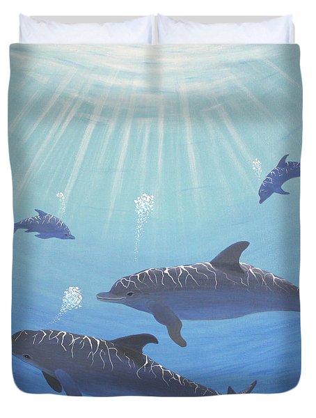 Underwater Dolphins Original Acrylic Painting Duvet Cover by Georgeta  Blanaru