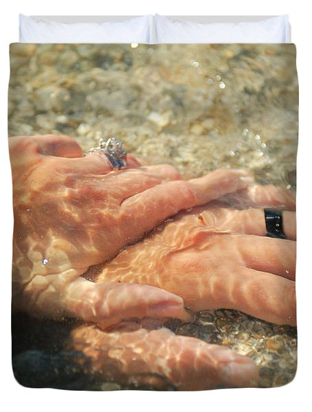 Duvet Cover featuring the photograph Underwater Hands by Leticia Latocki