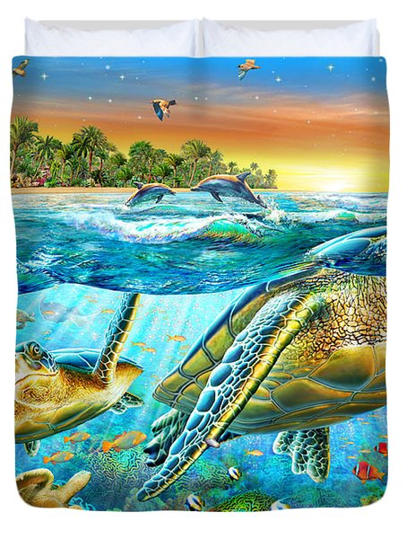 Underwater Turtles Duvet Cover by Adrian Chesterman