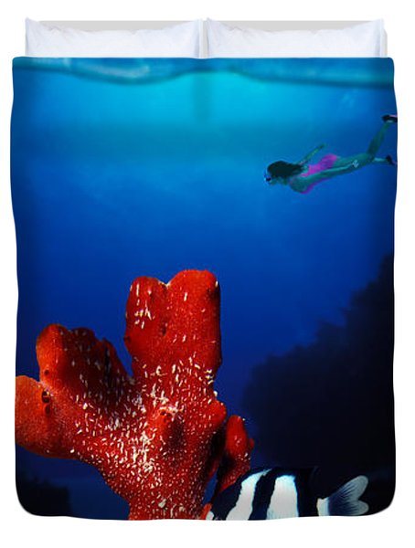 Underwater View Of Sea Anemone Duvet Cover
