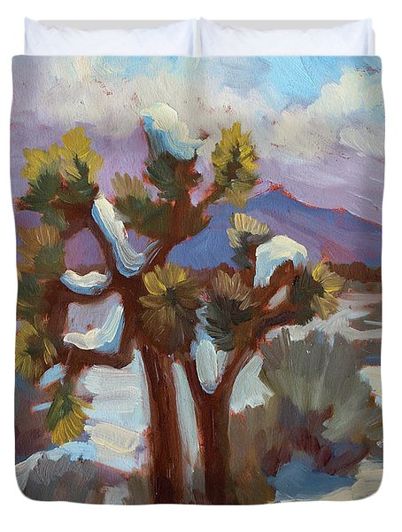 Unexpected Snowfall At Joshua Tree Duvet Cover by Diane McClary