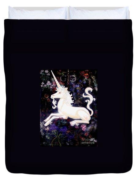 Unicorn Floral Duvet Cover by Genevieve Esson