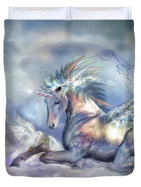 Unicorn Of Peace Duvet Cover by Carol Cavalaris