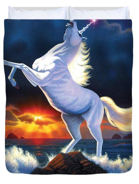 Unicorn Raging Sea Duvet Cover by Chris Heitt