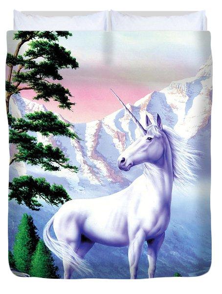 Unicorn The Land That Time Forgot Duvet Cover by Garry Walton