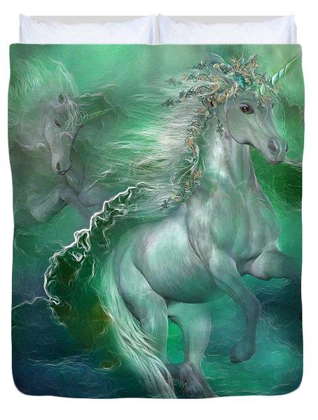 Unicorns Of The Sea Duvet Cover by Carol Cavalaris