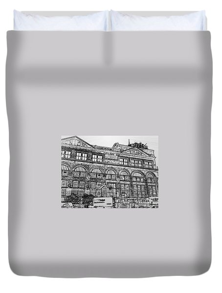Union Light And Power In Black And White Duvet Cover