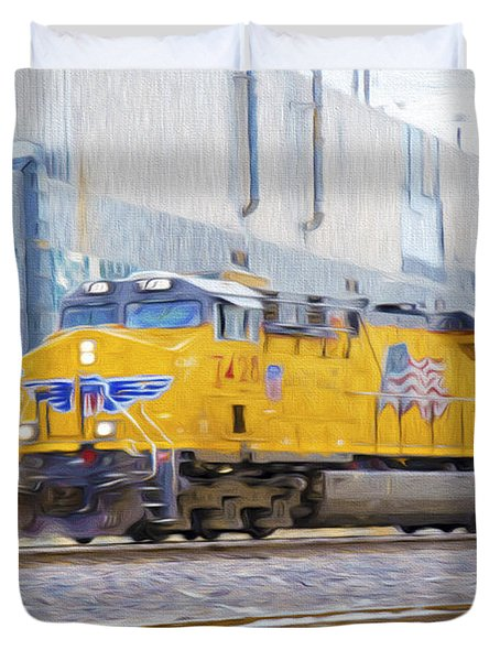Duvet Cover featuring the photograph Union Pacific Train In K C M O by Andee Design