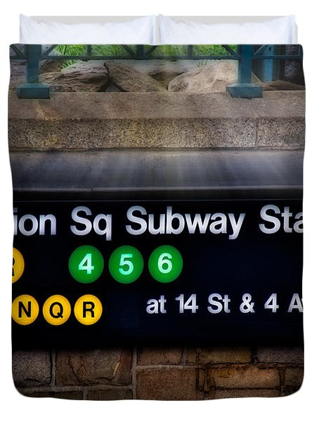 Union Square Subway Station Duvet Cover by Susan Candelario