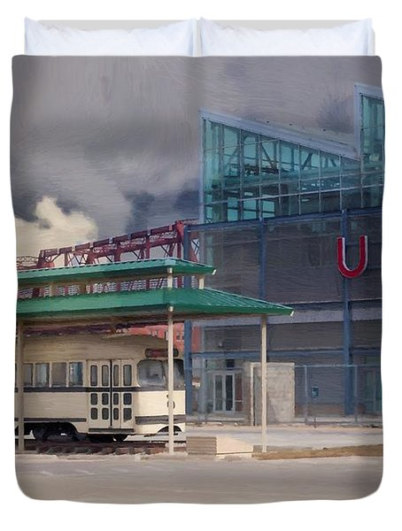 Union Station - Backside - Oil Painting Duvet Cover by Liane Wright