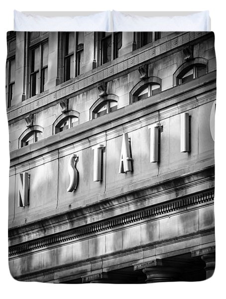 Union Station Chicago Sign In Black And White Duvet Cover by Paul Velgos