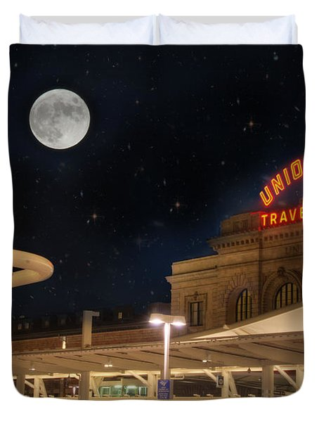 Union Station Denver Under A Full Moon Duvet Cover