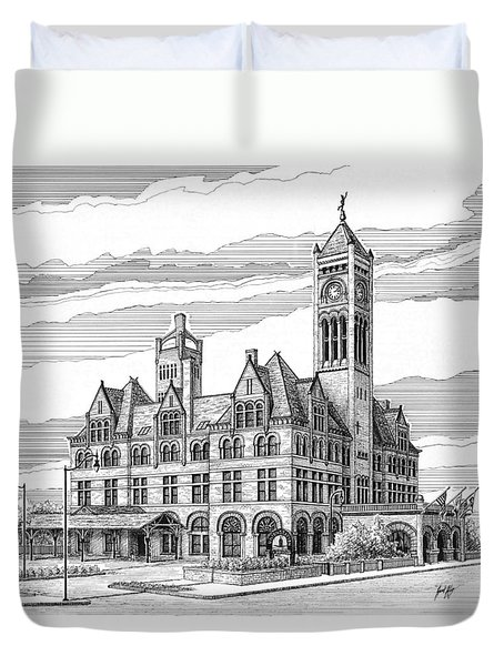 Duvet Cover featuring the drawing Union Station In Nashville Tn by Janet King